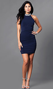 Image of jeweled-choker collar short navy homecoming dress. Style: EM-EQO-1061-430 Detail Image 1