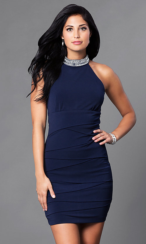 Image of jeweled-choker collar short navy homecoming dress. Style: EM-EQO-1061-430 Front Image
