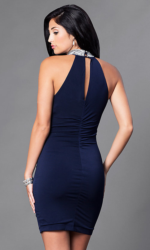 Image of jeweled-choker collar short navy homecoming dress. Style: EM-EQO-1061-430 Back Image