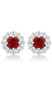 Red and Clear Cubic Zirconia Round Studs