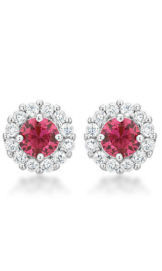 Pink and Clear Cubic Zirconia Round Studs