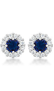 Navy Blue and Clear Cubic Zirconia Round Studs