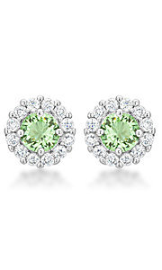Light Green and Clear Cubic Zirconia Round Studs