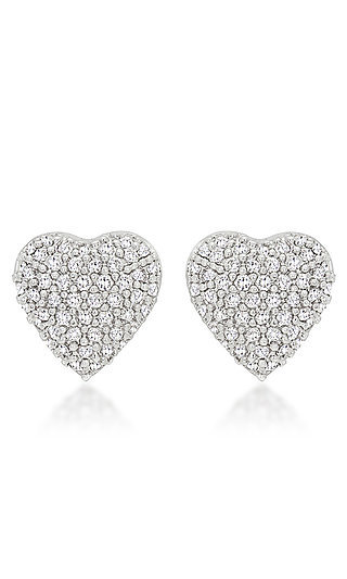 Silver Cubic Zirconia Heart Shaped Studs