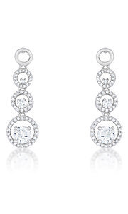 Round Cubic Zirconia Linked Drop Earrings