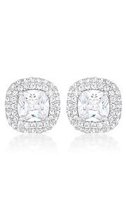 Silver Cubic Zirconia Pave Studs