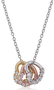 Tri Color Metal Heart Cubic Zirconia Necklace