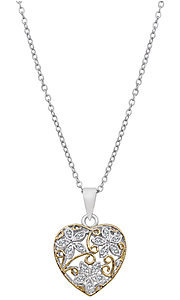Silver and Gold Filigree Cubic Zirconia Pendant