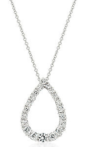 Cubic Zirconia Hollow Teardrop Pendant
