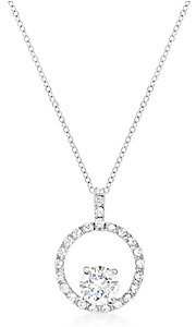 Silver and Clear Crystal Center Halo Pendant