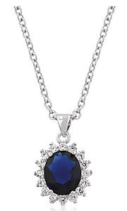 Royal Blue Cubic Zirconia Teardrop Pendant