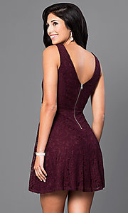Image of short sleeveless v-back lace homecoming dress. Style: SS-D63623H114 Back Image