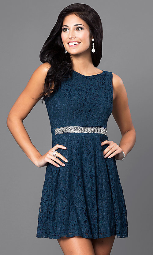 Image of short sleeveless v-back lace homecoming dress. Style: SS-D63623H114 Front Image
