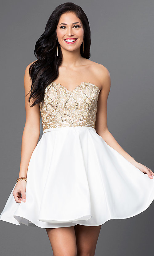 Image of sequined-bodice Blush Exclusive homecoming dress. Style: BL-PG024 Front Image
