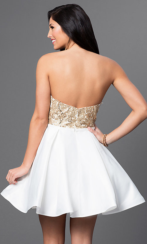 Image of sequined-bodice Blush Exclusive homecoming dress. Style: BL-PG024 Back Image