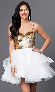 Image of short sequined sweetheart babydoll dress. Style: BL-PG027 Detail Image 1