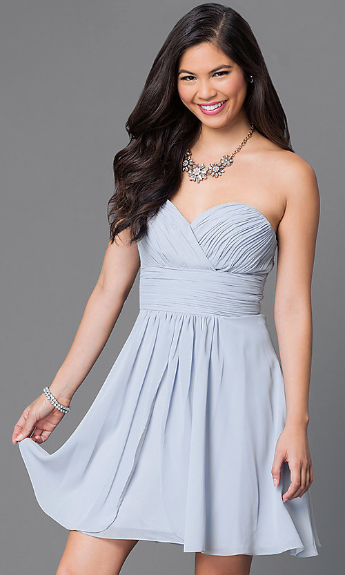 Image of short strapless homecoming dress with ruched bodice. Style: JT-757 Detail Image 4