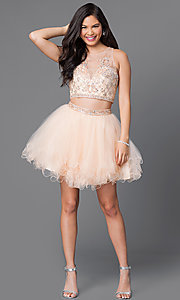 Image of short two-piece homecoming dress with jeweled bodice. Style: JT-755 Detail Image 1