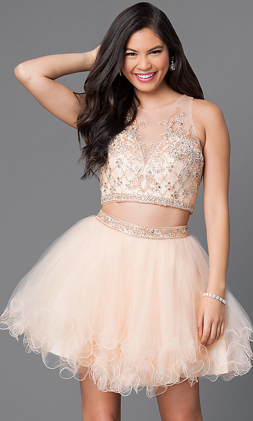 Image of short two-piece homecoming dress with jeweled bodice. Style: JT-755 Front Image