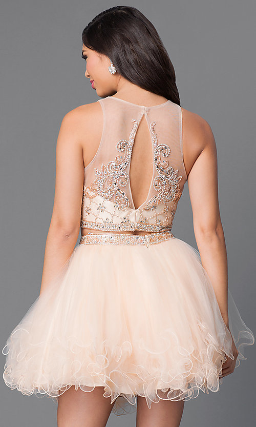Image of short two-piece homecoming dress with jeweled bodice. Style: JT-755 Back Image