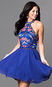 Image of short embroidered-chiffon halter homecoming dress. Style: NA-6235 Detail Image 1