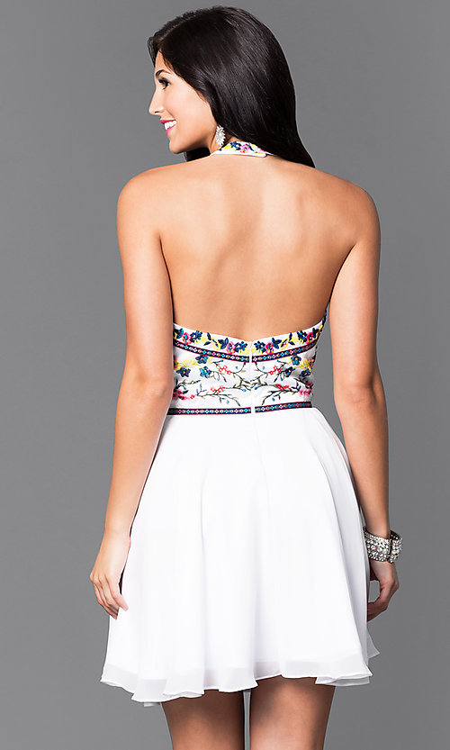 Image of short embroidered-chiffon halter homecoming dress. Style: NA-6235 Back Image