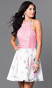 Embroidered Applique Floral Print Short Halter Dress