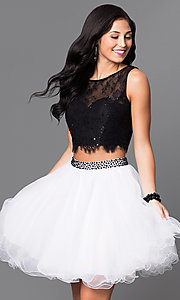 Two-Piece Homecoming Party Dress with Lace Bodice