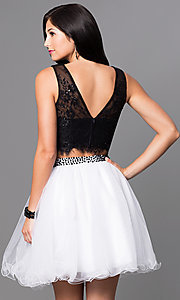 Image of two-piece homecoming party dress with lace bodice. Style: NA-6224 Back Image