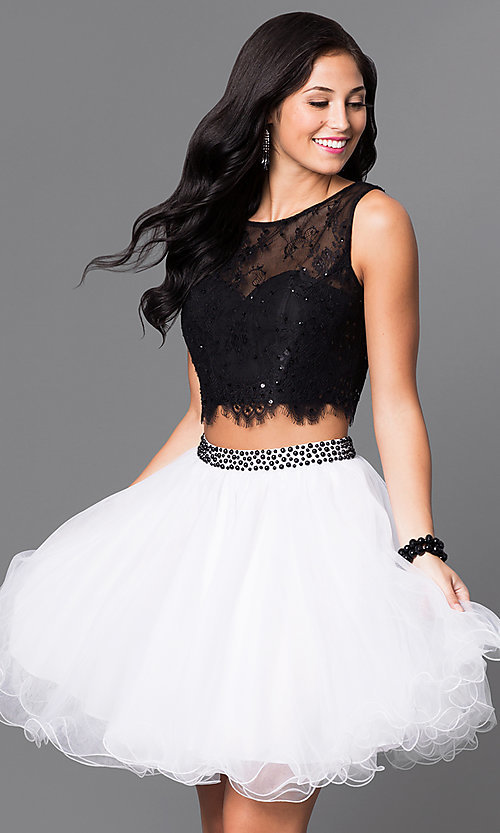 Image of two-piece homecoming party dress with lace bodice. Style: NA-6224 Front Image