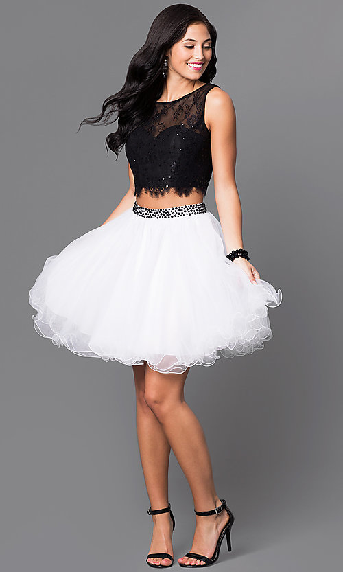 Image of two-piece homecoming party dress with lace bodice. Style: NA-6224 Detail Image 1