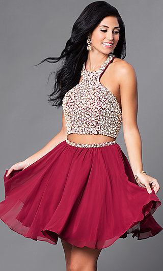 Two-Piece Short Chiffon Party Dress with Beading