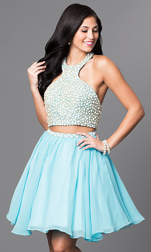 Image of two-piece short chiffon party dress with beading. Style: NA-6257 Detail Image 1
