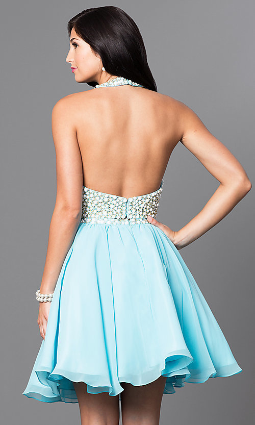 Image of two-piece short chiffon party dress with beading. Style: NA-6257 Back Image