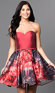 Strapless Sweetheart with Short Floral Skirt