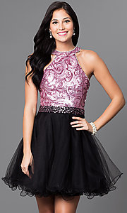 High Neck Sequin Bodice Short Tulle Dress