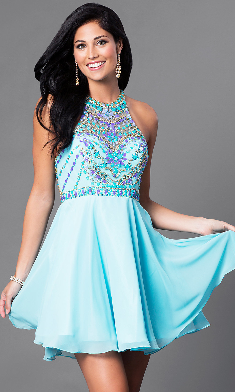 Beaded Illusion-Bodice Homecoming Dress - PromGirl