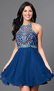 Image of high-neck racerback beaded-bodice homecoming dress. Style: NA-6238 Front Image