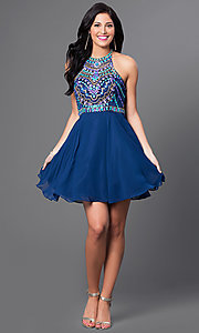 Image of high-neck racerback beaded-bodice homecoming dress. Style: NA-6238 Detail Image 1