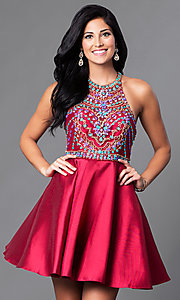 Image of short racerback homecoming dress with beaded bodice. Style: NA-6251 Detail Image 2