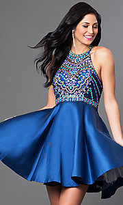 Image of short racerback homecoming dress with beaded bodice. Style: NA-6251 Front Image