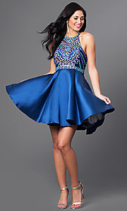 Image of short racerback homecoming dress with beaded bodice. Style: NA-6251 Detail Image 1
