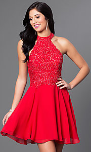Image of short halter party dress with sequined-lace bodice. Style: NA-6210 Detail Image 2