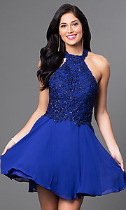 Image of short halter party dress with sequined-lace bodice. Style: NA-6210 Front Image
