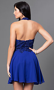 Image of short halter party dress with sequined-lace bodice. Style: NA-6210 Back Image