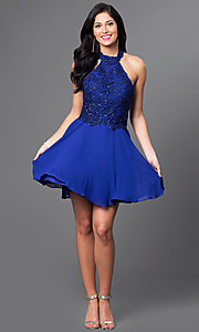 Image of short halter party dress with sequined-lace bodice. Style: NA-6210 Detail Image 1