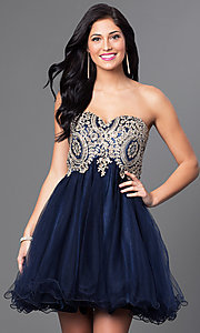 Empire Waist Short Dress with Lace Bodice