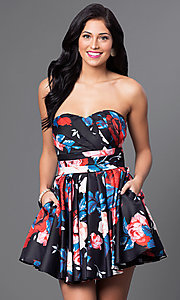 Floral Print Strapless Dress with Pockets