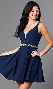 Image of short open-back homecoming dress with low v-neck. Style: NA-6241 Detail Image 3