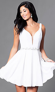 Image of short open-back homecoming dress with low v-neck. Style: NA-6241 Front Image